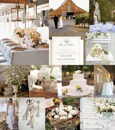 Mood: rustic, elegant spring wedding Palette: nest brown, petal white