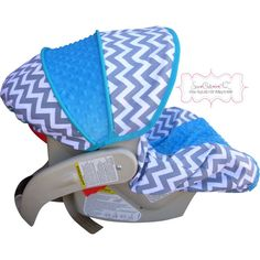 Grey Chevron with Azure Infant Car Seat Cover! MATCHES MY MAN'S BEDDING:)