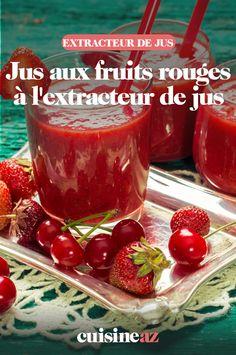 Ce jus aux fruits rouges à l'extracteur de jus est composé de framboises, fraises et mûres. #recette#cuisine#jus#fruitsrouges #framboise #fraise #mure #fruit #boisson #extracteurdejus #robot Robot, Pudding, Desserts, Drink, Cooking Recipes, Juice Extractor, Red Berries, Raspberries, Tailgate Desserts