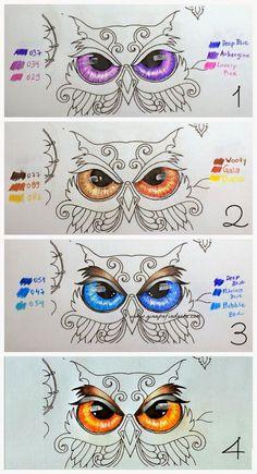 Atelier Gina Pafiadache: Floresta Encantada - Enchanted Forest - Olho da Coruja - sugestão de cores.: