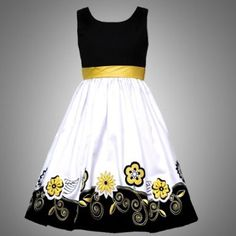 Black and yellow party dress