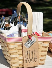 BBQ Cookout Party Utensils and Napkins Basket Project by Kerri Winterstein - Stampington Summer Bbq, Summer Picnic, Summer Parties, Tea Parties, Summer Days, Bbq Party, Mason Jars Decorados, Soirée Bbq, Barbacoa Jardin