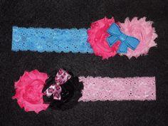 Set of 2 Shabby Rose Hair Bow Headbands Pink/Blue Sequin Bow, Black/Pink Leopard #Handmade