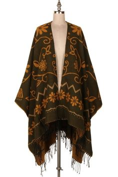 FLORAL EMBROIDERED PONCHO CARDIGAN   #19P-240112