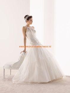 2014 Romantische Brautkleider aus Satin und Organza A-Linie