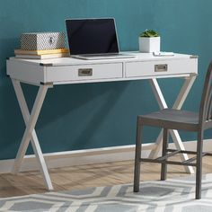 Features:  -French dovetailed drawer construction.  -Neptune collection.  Desk Type: -Writing desk.  Top Material: -Wood.  Base Material: -Wood. Finish Samba Red -  Accent Finish: -Brushed Nickel. Fin