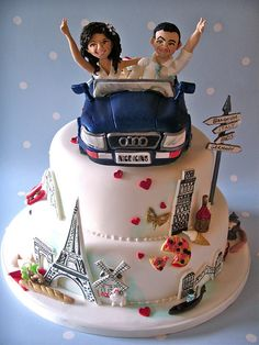Wedding cakes play a significant part in the wedding party. A wedding cake may be a significant part your big day. The traditional wedding cake is definitely round, but the simple truth is there ar… Funny Wedding Cakes, Amazing Wedding Cakes, Amazing Cakes, Fondant Cakes, Cupcake Cakes, Travel Cake, Paris Cakes, Cake Name, Happy Birthday Cakes