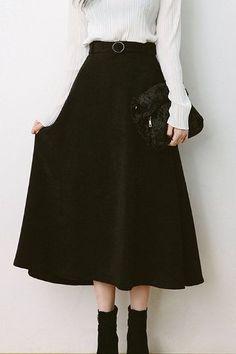 Soul Belt Long Skirt   Korean Fashion