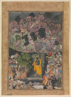 """""""Krishna Holds Up Mount Govardhan to Shelter the Villagers of Bragj"""", Folio from a Harivamsa (The Legend of Hari (Krishna)), ca. 1590-95. Folio from an illustrated manuscript. The Metropolitan Museum of Art, New York. Purchase, Edward C. Moore Jr. Gift, 1928 (28.63.1)"""