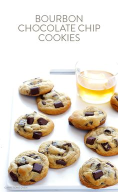 Bourbon Chocolate Chip Cookies -- soft, chewy, and made extra delicious with a hint of bourbon   gimmesomeoven.com