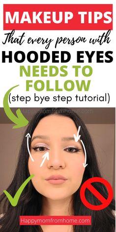 Droopy Eye Makeup, Eye Makeup Steps, Simple Eye Makeup, Hooded Eye Makeup Tutorial, Easy Makeup Tutorial, Makeup Tutorials, Makeup Ideas, Makeup Tutorial Step By Step, Eyeshadow Tutorials