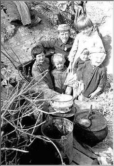 Russian children, living in a dugout (1942)