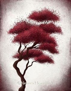 Pared roja una decoración abstracta árbol por NaturesHeavenlyArt