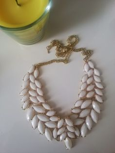 White & Gold Statement Necklace