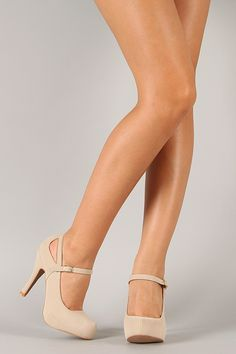 Nude cut out Mary Jane pumps