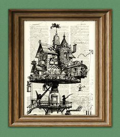 Retro-futuristic Aerial House steampunk illustration @Laura Weed