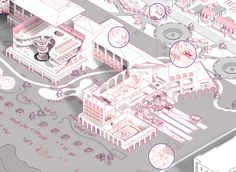 Destination Gestation Surrogacy and genetic reproduction resort facility in Cancun, Mexico (excerpt) by Abby Stone and Rennie Jones, Andres Jaque Princeton Studio 2015 Architecture Panel, Architecture Graphics, Concept Architecture, Architecture Drawings, Architecture Design, Axonometric Drawing, Isometric Drawing, Urban Design Diagram, Architecture Presentation Board