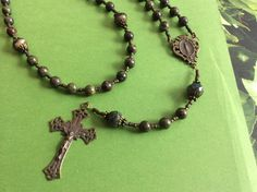 Dragon Blood Jasper Beaded Rosary by theQueensRoses on Etsy