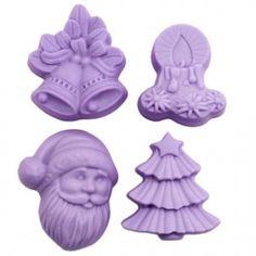 Molde para detalles, 4 Figuras de Navidad. Con este molde de silicona conseguirás hacer estupendos jabones navideños. Ideal para hacer todo tipo de  manualidades navideñas. Todo lo que necesitas en Gran Velada. Perfecto para hacer con niños.DIY.