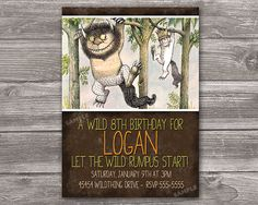Where the Wild Things Are Invitation for Birthday Party - DIY Print Your Own Invite - Printable Digital File