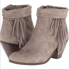 Sam Edelman Shoes | Sam Edelman Louie Fringe Tan Suede Booties | Poshmark Fringe Ankle Boots, Fringe Booties, Suede Booties, Suede Heels, Sam Edelman Boots, Edelman Shoes, Booties Outfit, Hot, Free Shipping