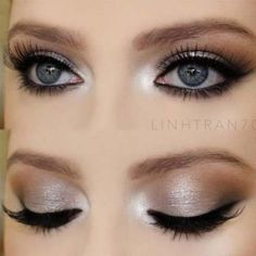Do you have gray eyes and still do not know which make-up is the most flattering even after years of experimentation? Then our photo gallery and some make-up tips will. Makeup For Grey Dress, Grey Eye Makeup, Dramatic Eye Makeup, Makeup For Green Eyes, Natural Eye Makeup, Cute Makeup, Smokey Eye Makeup, Gorgeous Makeup, Eyeshadow Makeup