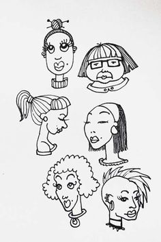 Sketch book. Faces. On paper. By Katja Malinen