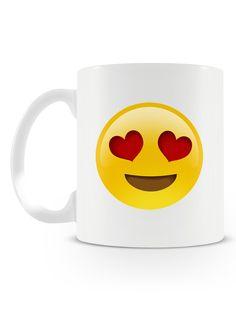 Caneca Emoji Apaixonado   Uma loja de caneca #canecas #funny #mugs Emoji Mug, Polymers, Hand Painted Ceramics, Ceramic Painting, Mug Cup, Nova, Coffee Mugs, Porcelain, Cartoon