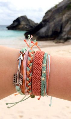 Coral + mint friendship bracelets