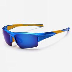 bfc105ad8d8 Polarized Semi-Rimless Sports Wrap Mens Sunglasses Blue Frame Blue Lens  Cycling Sunglasses