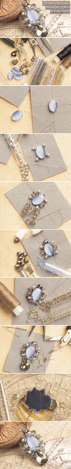 Beautiful bead embroidery earring instructions using rhinestones in prongs. In…