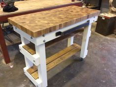 solid oak butchers block 5cm end grain with 2 shelves.  Choose your height and colour  See our Etsy store https://www.etsy.com/your/shops/me/dashboard?ref=seller-platform-mcnav