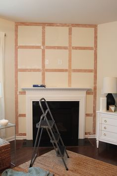 A simple step by step tutorial that shows you how to create a board and batten accent wall in your home. A simple step by step tutorial that shows you how to create a board and batten accent wall in your home. Fireplace Accent Walls, Fireplace Feature Wall, Fireplace Trim, Accent Walls In Living Room, Brick Fireplace Makeover, Simple Fireplace, Fireplace Wall, Living Room With Fireplace, Fireplace Design