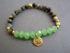 Ohm Charm pendant Bracelet, Blue Tiger's Eye & Green Crystal Wrist Mala Bracelet, Prayer Beads, Yoga Meditation Jewelry on Etsy, $25.00
