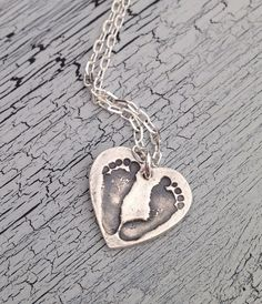 Your CHILDS actual Foot Prints--Medium Heart--Fine Silver Keepsake Necklace