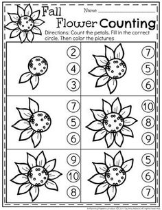 Sunflower Petal Counting Worksheets for Preschool - Fall preschool Unit.