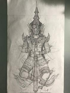 Thailand Tattoo, Thailand Art, Cambodian Tattoo, Art Sketches, Art Drawings, Thai Pattern, Thai Tattoo, Thai Art, Side Tattoos