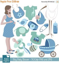 70% Sale Boy Baby Shower Digital Clipart - Scrapbooking , card design, invitations, photo booth, web design - INSTANT DOWNLOAD