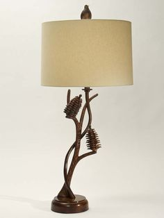 Pine Forest Table Lamp Western Lamps   Graceful Textured Branches Created  In Metal Are Accented With