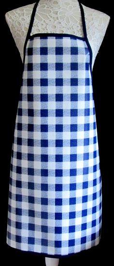 Blue Gingham APRON / Pinny PVC/OILCLOTH  Lightweight