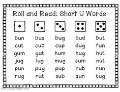 Roll and Read Short U Words: Includes 3 games for grades K-2 ~ The Vivacious Teacher
