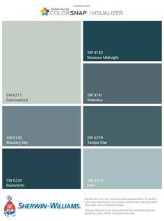 Home Decoration In Pakistan Info: 2656355154 Teal Paint Colors, Paint Colors For Home, Grey Paint, Wall Colors, House Paint Exterior, Exterior Paint Colors, Exterior House Colors, Blue Green Paints, Sherwin William Paint