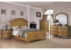 Emily Light Oak Queen Bed, Dresser