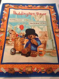 Paddington Bear ABC's Crossword Puzzle on Blue Cotton Fabric by ... : paddington bear quilt - Adamdwight.com