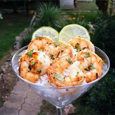 Great way to serve grilled shrimp or shrimp cocktail in a martini glass