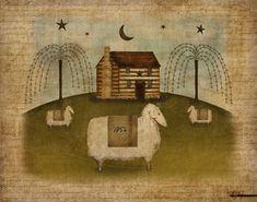 Cabane en rondins, moutons primitifs Folk Art 8,5 x 11 téléchargement