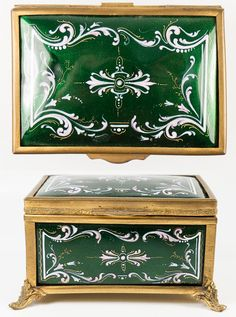 Antique French Kiln-fired Enamel Jewelry Box, Casket, RARE Green & Pink
