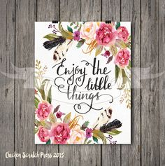 Enjoy the little things wall print art & collectibles Wall