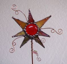 Stained Glass and Copper Art Funky garden plant by Groovyglass, $34.00