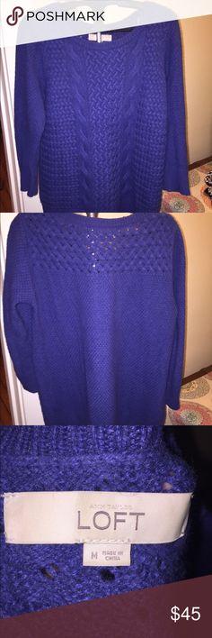 Purple/blue knitted sweater Lovely dark purple/blue knitted sweater from The Loft. Very good condition. Smoke free home. LOFT Sweaters Crew & Scoop Necks